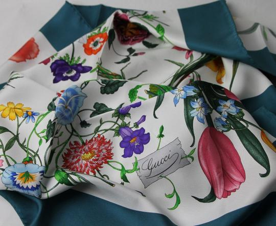 Gucci Gucci Large Silk Scarf Floral Scarf with Green Trim 022796 4409 Image 4