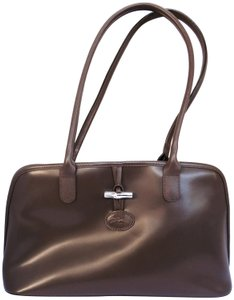 Longchamp Leather Domed Snap Pocket Satchel in Taupe / Brown