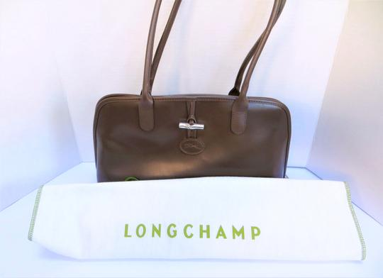 Longchamp Leather Domed Snap Pocket Satchel in Taupe / Brown Image 1