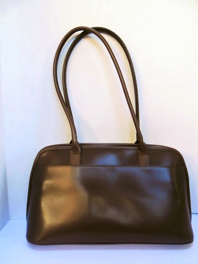 Longchamp Leather Domed Snap Pocket Satchel in Taupe / Brown Image 3