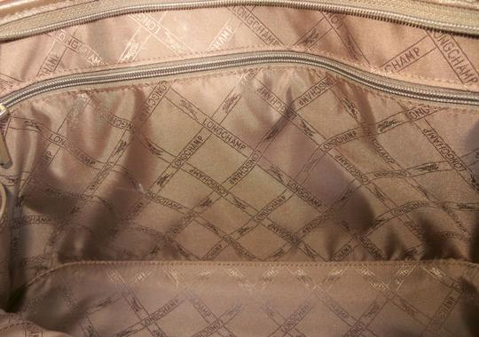Longchamp Leather Domed Snap Pocket Satchel in Taupe / Brown Image 6