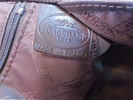 Longchamp Leather Domed Snap Pocket Satchel in Taupe / Brown Image 7