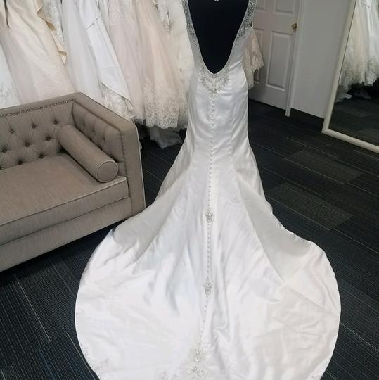 Christina Wu Ivory Satin 15535 Formal Wedding Dress Size 8 (M) Image 2