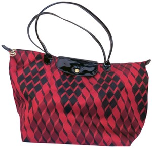 Longchamp Geometric Pattern Tote Neoprene / Satchel in Red / Black