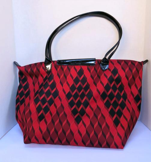Longchamp Geometric Pattern Tote Neoprene / Satchel in Red / Black Image 1