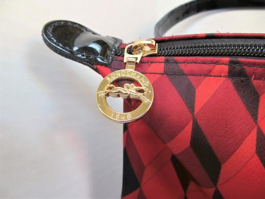 Longchamp Geometric Pattern Tote Neoprene / Satchel in Red / Black Image 2