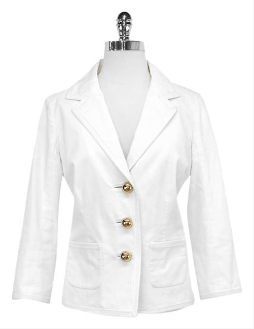 Preload https://item4.tradesy.com/images/kate-spade-white-cotton-w-gold-half-sphere-buttons-blazer-size-4-s-2318138-0-0.jpg?width=400&height=650