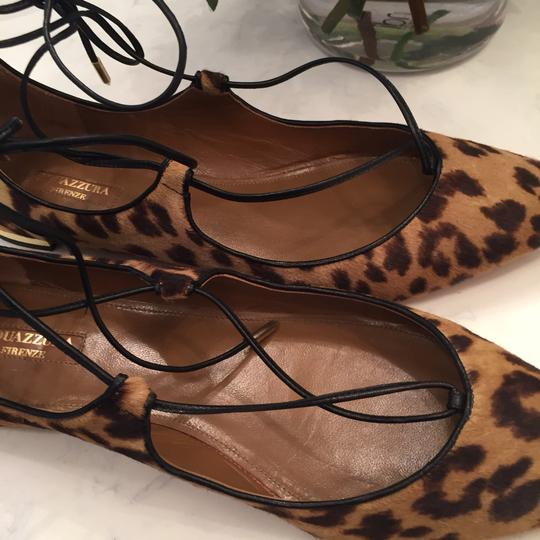 Aquazzura black, tan and gold metallic heel Flats Image 8