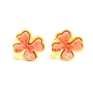 Chanel Chanel Clover Gold Plated Orange CC Clip on Earrings