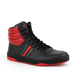 d62c80feae2 Gucci Black Red Leather Hi Top Sneakers with Grg Web Detail 7.5g Us