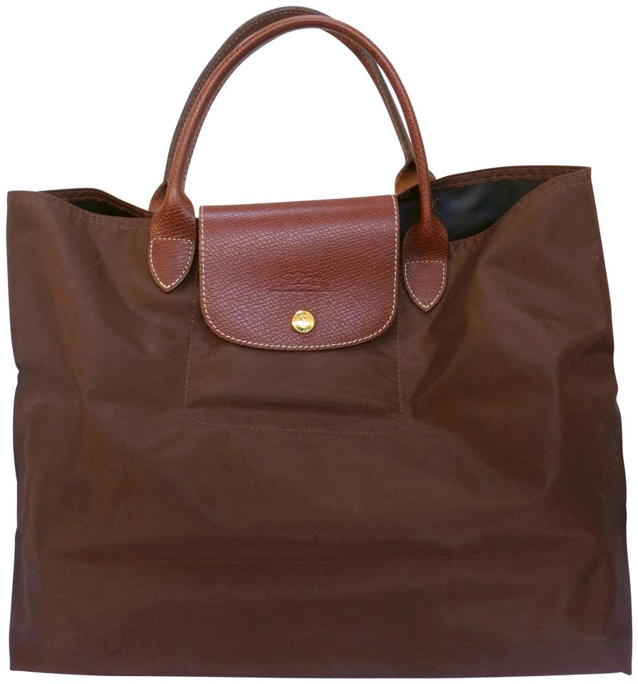 Longchamp Nylon Leather Trim Les Pliages Cabas Tote In Brown
