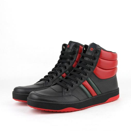 Gucci Black/Red Leather Hi Top Sneakers with Grg Web Detail 8g/Us 8.5 368494 1074 Shoes Image 1