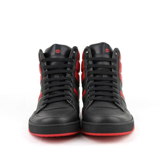 Gucci Black/Red Leather Hi Top Sneakers with Grg Web Detail 8g/Us 8.5 368494 1074 Shoes Image 2