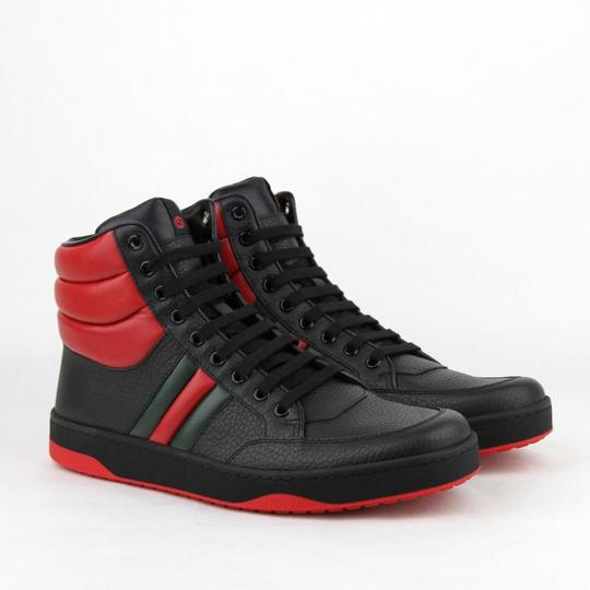 Gucci Black/Red Leather Hi Top Sneakers with Grg Web Detail 8g/Us 8.5 368494 1074 Shoes Image 3