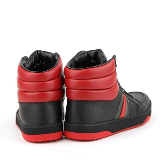 Gucci Black/Red Leather Hi Top Sneakers with Grg Web Detail 8g/Us 8.5 368494 1074 Shoes Image 4