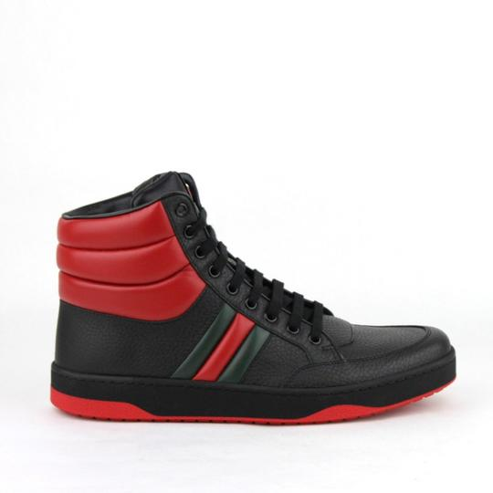 Gucci Black/Red Leather Hi Top Sneakers with Grg Web Detail 8g/Us 8.5 368494 1074 Shoes Image 5