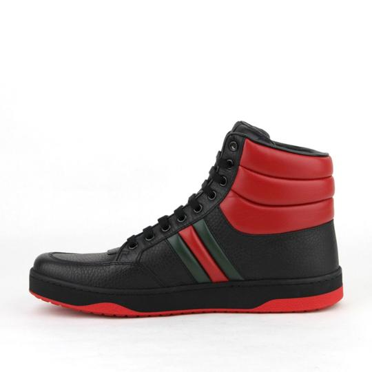 Gucci Black/Red Leather Hi Top Sneakers with Grg Web Detail 8g/Us 8.5 368494 1074 Shoes Image 6