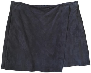 Vince Suede Lined Wrap Mini Mini Skirt Brown