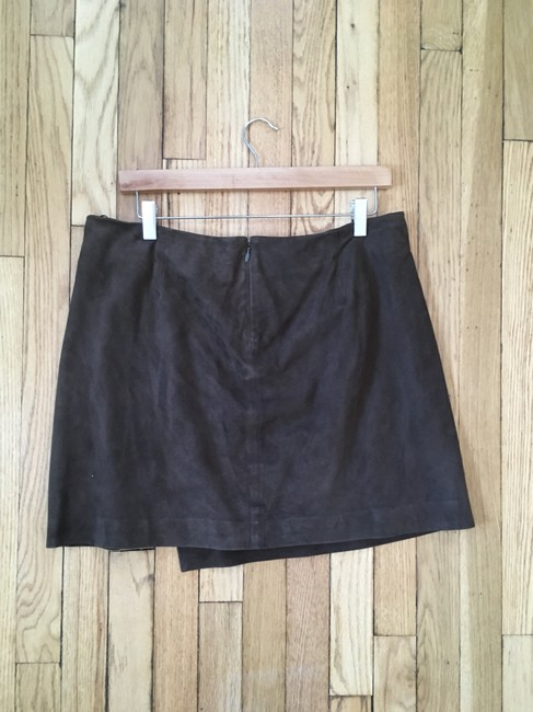 Vince Suede Lined Wrap Mini Mini Skirt Brown Image 1