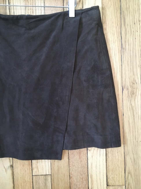 Vince Suede Lined Wrap Mini Mini Skirt Brown Image 2