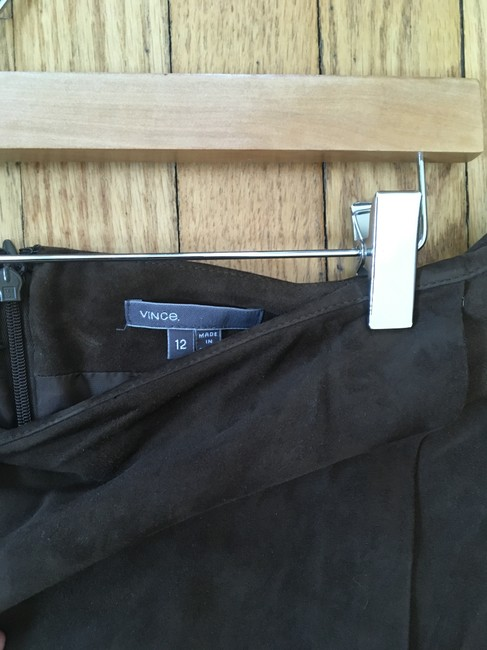 Vince Suede Lined Wrap Mini Mini Skirt Brown Image 3