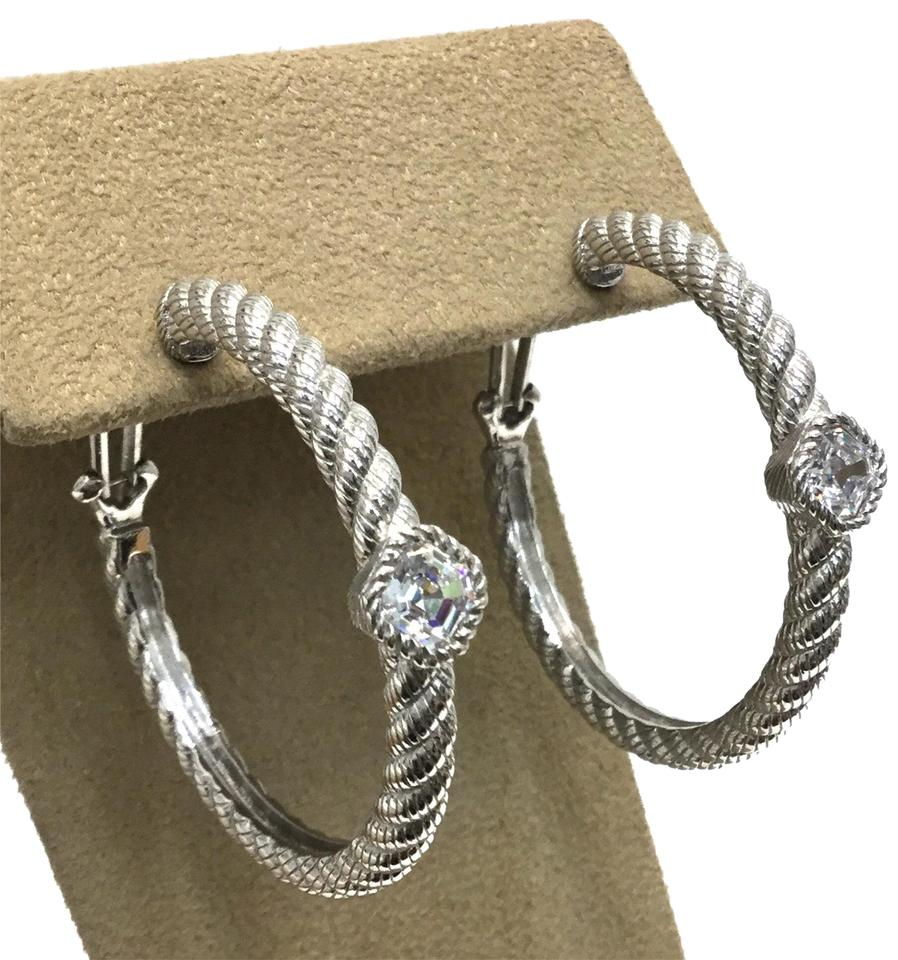Judith Ripka Cz Hoop Earrings Post Sterling Silver Pierced