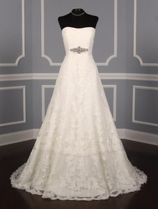 Pronovias Diamond White (Off White) Lace and Dotted Swiss Tulle Udine Formal Wedding Dress Size 10 (M)