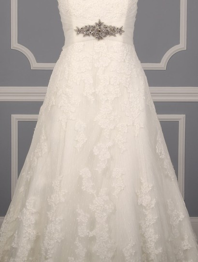 Pronovias Diamond White (Off White) Lace and Dotted Swiss Tulle Udine Formal Wedding Dress Size 10 (M) Image 1