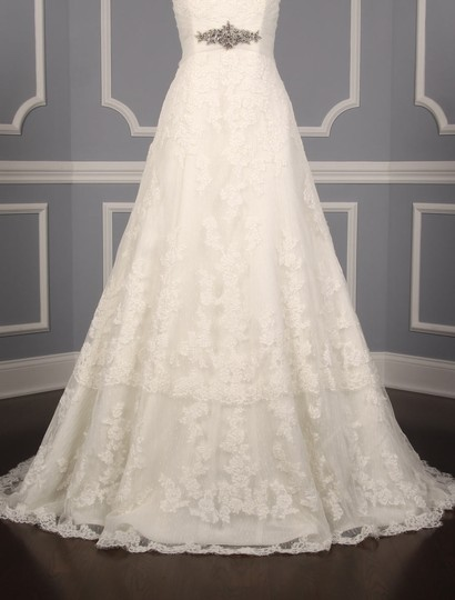 Pronovias Diamond White (Off White) Lace and Dotted Swiss Tulle Udine Formal Wedding Dress Size 10 (M) Image 2