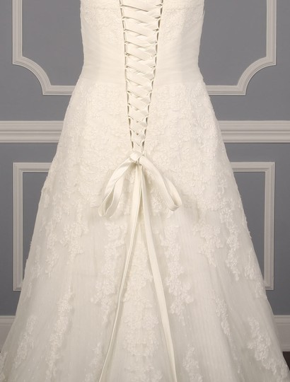 Pronovias Diamond White (Off White) Lace and Dotted Swiss Tulle Udine Formal Wedding Dress Size 10 (M) Image 8