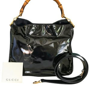 fa354e171b60b4 Added to Shopping Bag. Gucci Patent Leather Bamboo Crossbody Shoulder Bag. Gucci  Bamboo Handle Black ...