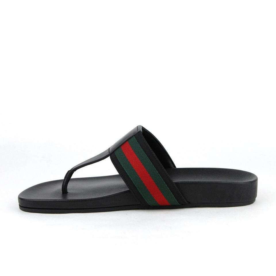 914d08017359 Gucci Black Leather Thong Sandals with Grg Web Detail 10.5g Us 11 386768  1069. 12345678