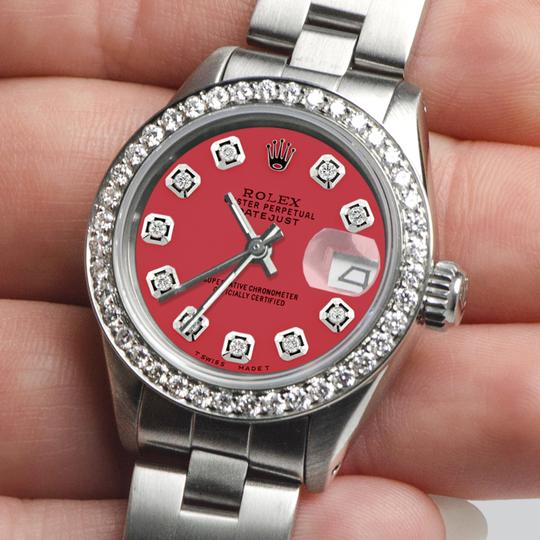 Rolex Datejust Ladies 26mm Steel Oyster Raspberry Punch Dial/Diamond Bezel Image 1