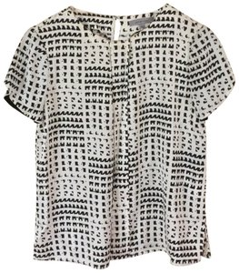Classiques Entier Cowl Neck Checkered Plaid Wool Top Black & Ivory