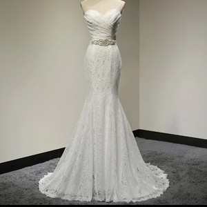 White Lace Sweetheart Formal Wedding Dress Size 6 (S)