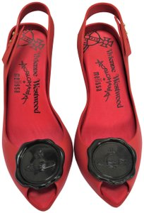 Vivienne Westwood Anglomania Rubber Red with Black Disc Pumps