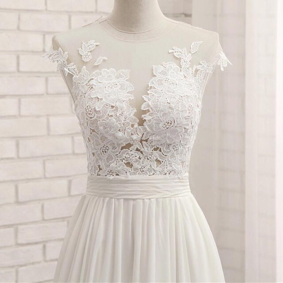 White Lace Cap Sleeve Formal Wedding Dress Size 6 (S) - Tradesy