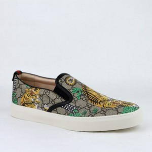 Gucci Beige Supreme Canvas Bengal Tiger Slip On Sneakers 8.5g/Us 9.5 407362 8680 Shoes
