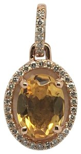 other 14K Rose Gold Natural Genuine Diamond and Citrine Oval Halo Pendant