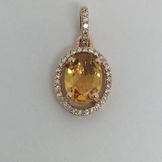 other 14K Rose Gold Natural Genuine Diamond and Citrine Oval Halo Pendant Image 1