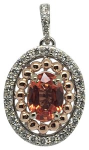other 14K Two-Tone Gold Natural Genuine Diamond and Orange Sapphire Pendant