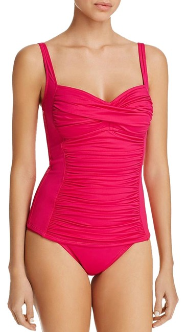 Item - Pink Bright Core Solid Ruched Swimsuit Set Tankini Size 6 (S)