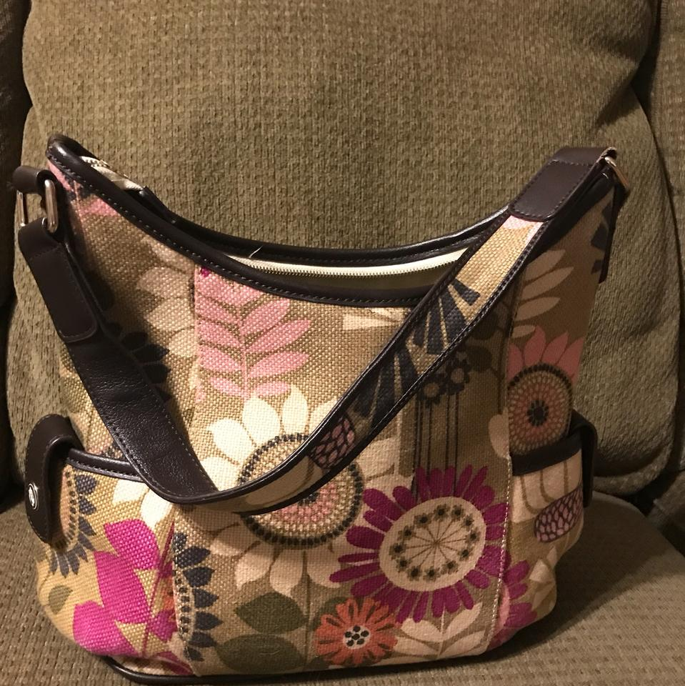Spartina 449 Daufuskie Island Fl Linen And Leather Hobo Bag
