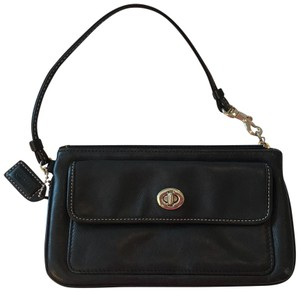 Coach Leather Clutch Wristlet in black with gold