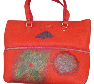 Kate Spade Grove Court Full Grain Leather Nwt Spring Hand Painted Unique Floral Design Whimsical Bright And Pink Signed Tote in Orange
