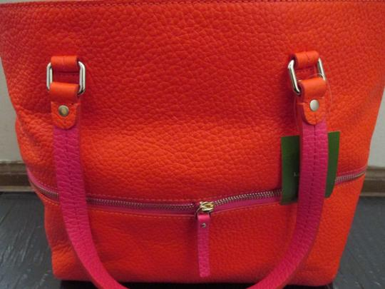 Kate Spade Grove Court Full Grain Leather Spring Hand Painted Unique Floral Design Whimsical Bright And Pink Signed Tote in Orange