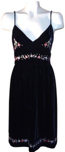 DKNY Velvet Wedding Cocktail Date Embroidered Dress