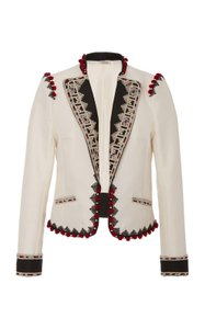 Talitha Embroidered Cotton Spring Cropped Jacket Ivory Blazer