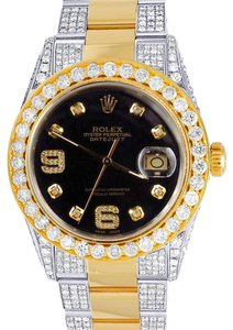 Rolex 18K/ Steel Two Tone Datejust 36MM 16013 Black Dial Diamond Watch 10 Ct