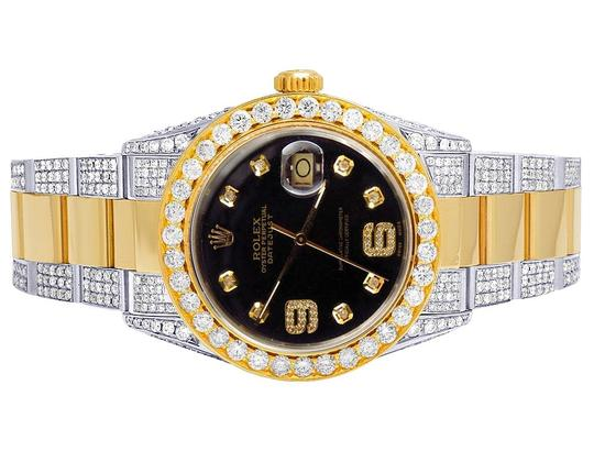 Rolex 18K/ Steel Two Tone Datejust 36MM 16013 Black Dial Diamond Watch 10 Ct Image 1